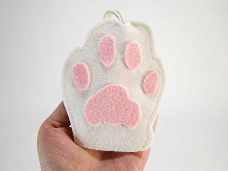 Cute Animal Key Bag - White Cat Hand
