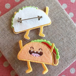 Cloth embroidered pin - happy fast food series laugh Mexican cake