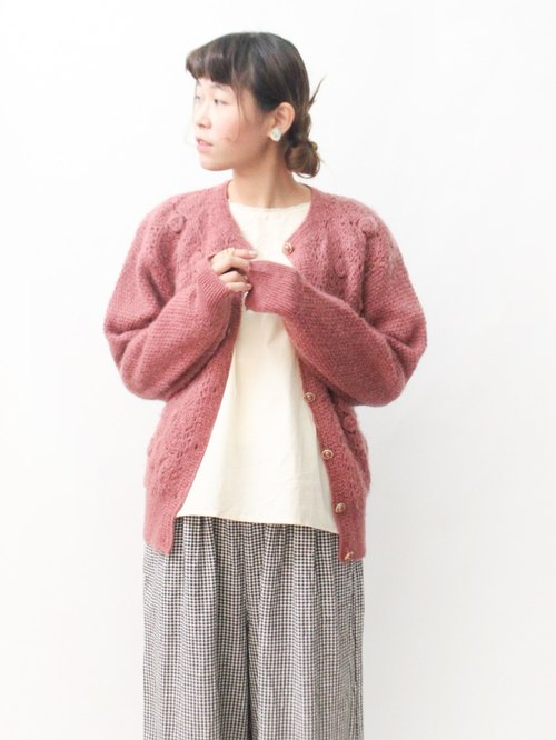 【RE1021SW140】 Autumn retro lovely flowers woven lotus root pink sweater knitted jacket