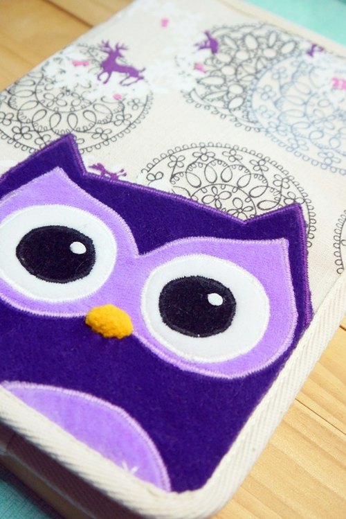 Bucute owl and a half dimensional cloth slipcase / Mom manual / book cover / slipcase child manual / birthday gift / handmade / gift exchange / Fast Shipping