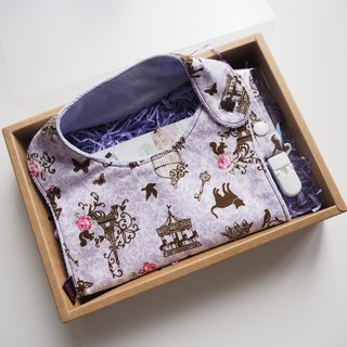Purple Cat and French Style Handmade Bib Box Set
