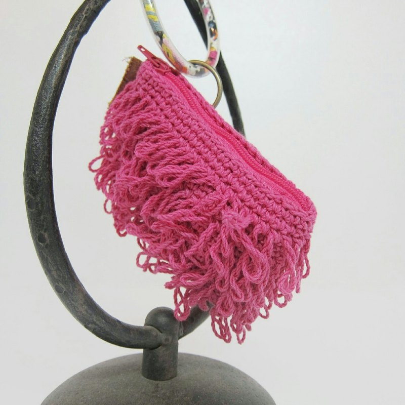 Tassel pink. Hand woven / water pipe / card purse
