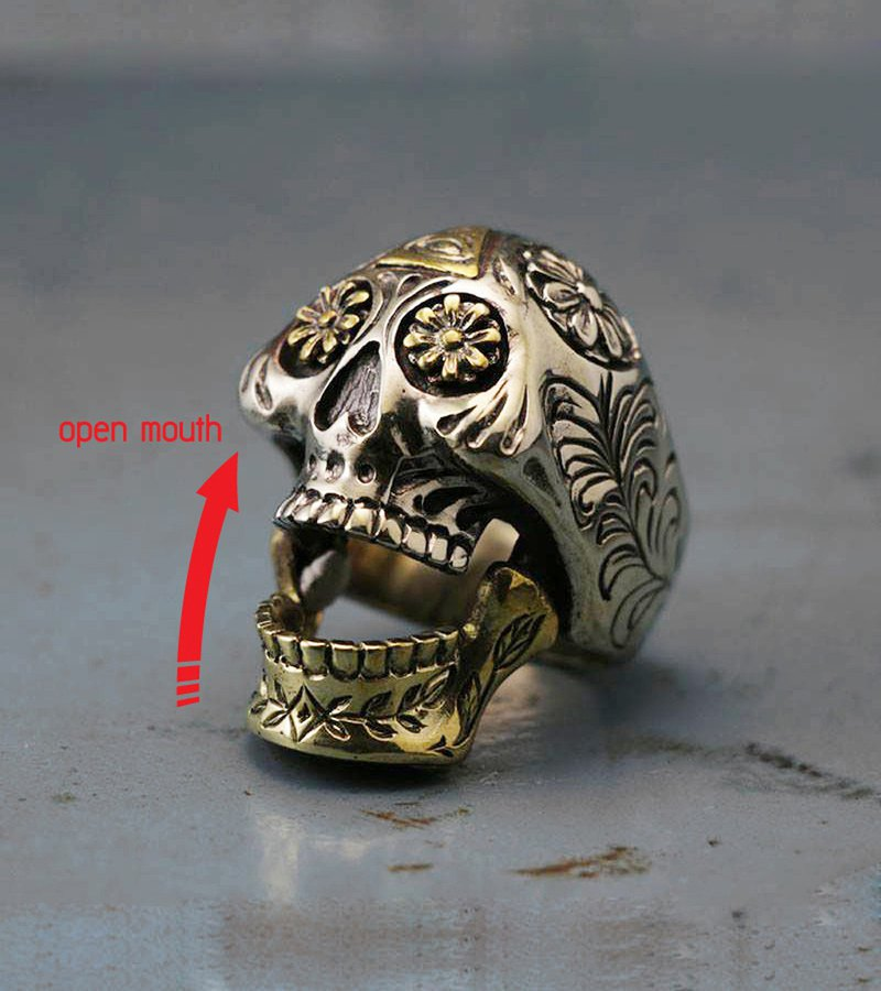 Mexican Biker Rings Skull sugar silver Cross open mouth illuminati freemason