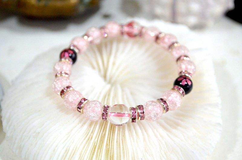 粉紅色水晶珠櫻花圖案橡筋粉晶手鍊 日本二手中古珠寶首飾古著