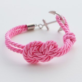 Infinity-knot with nautical hook bracelet in pink