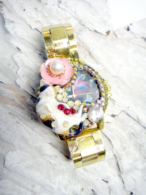 TIMBEE LO kitty watch crystal ornaments handmade cat can be customized gemstone jewelry white pearl crystal