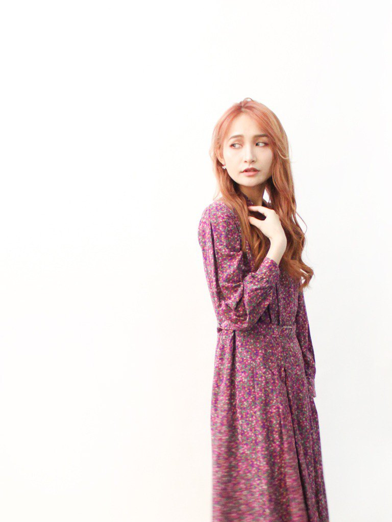 Japanese vintage antique purple floral little long-sleeved vintage dress Japanese Vintage Dress - special
