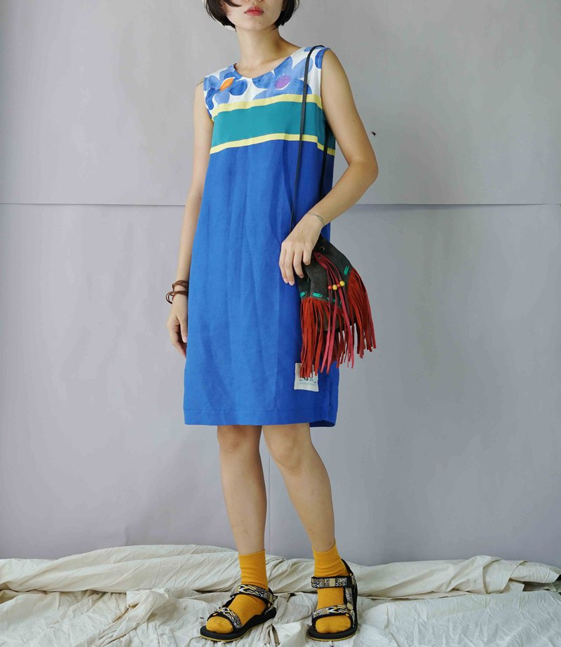 Design hand-made - summer Nordic print color block blue cotton linen sleeveless dress