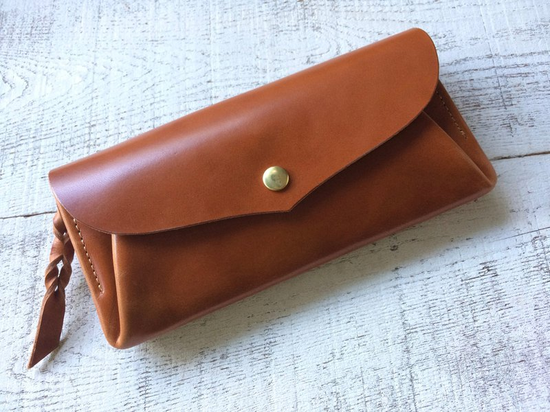 JAPAN 12 leather wallet wallet series-envelope orange brown