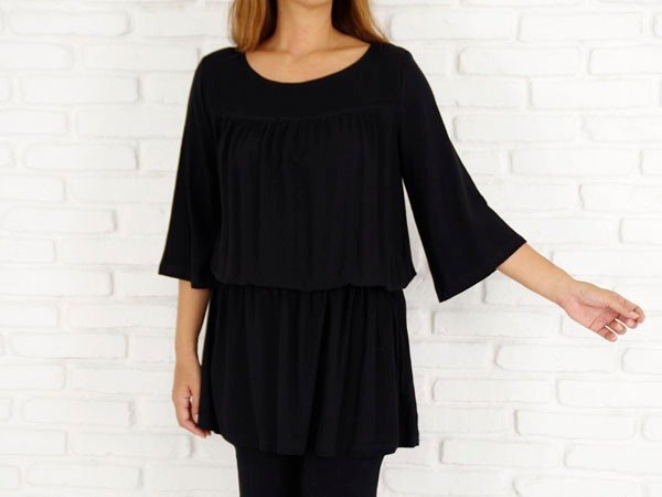 Adult cute black! Soft browsing tunic dress
