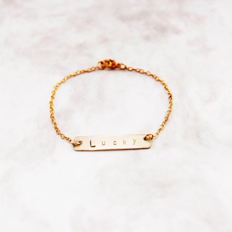 Minimalist personality exclusive brass bracelet customized hand knock letters to commemorate sister birthday gift