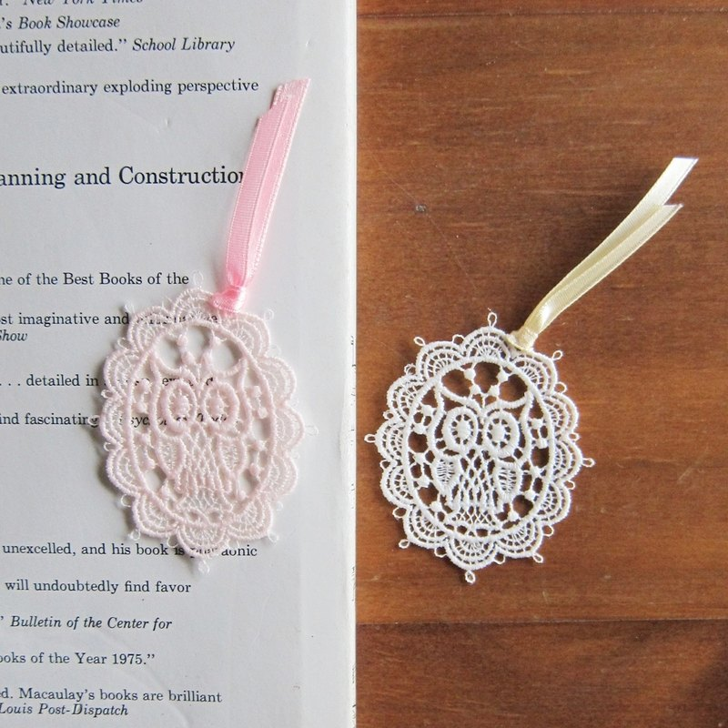 Embroidered  Lace  bookmarks :Owl