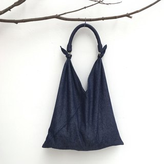 SAMEDi - Casual Tie Tote - Denning Dark Blue + Dark Blue Handle
