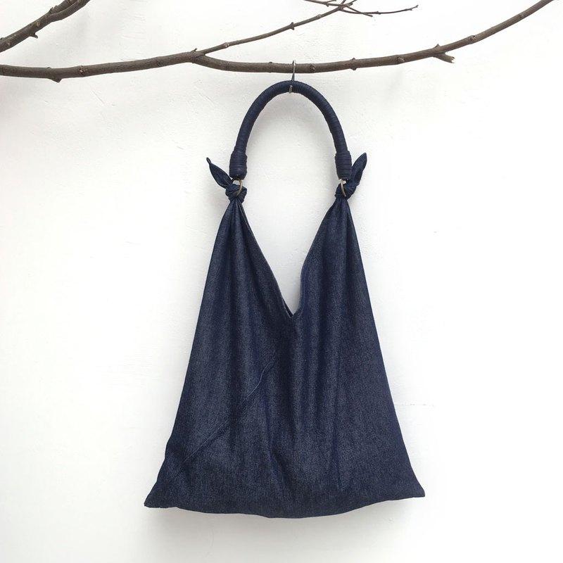 SAMEDi - 隨性綁結手提包-丹寧深藍+深藍提把