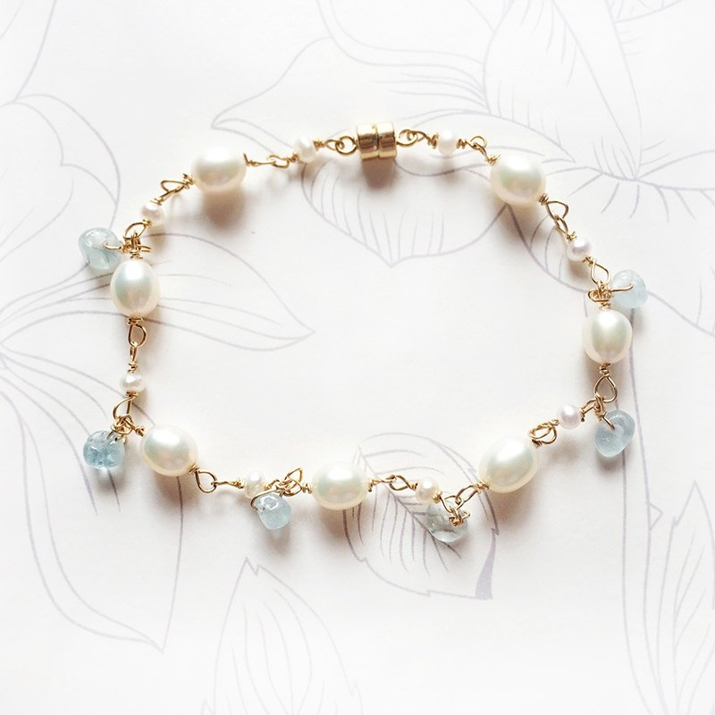 Summer Ocean Song1, Aquamarine Bracelet, 14kgf