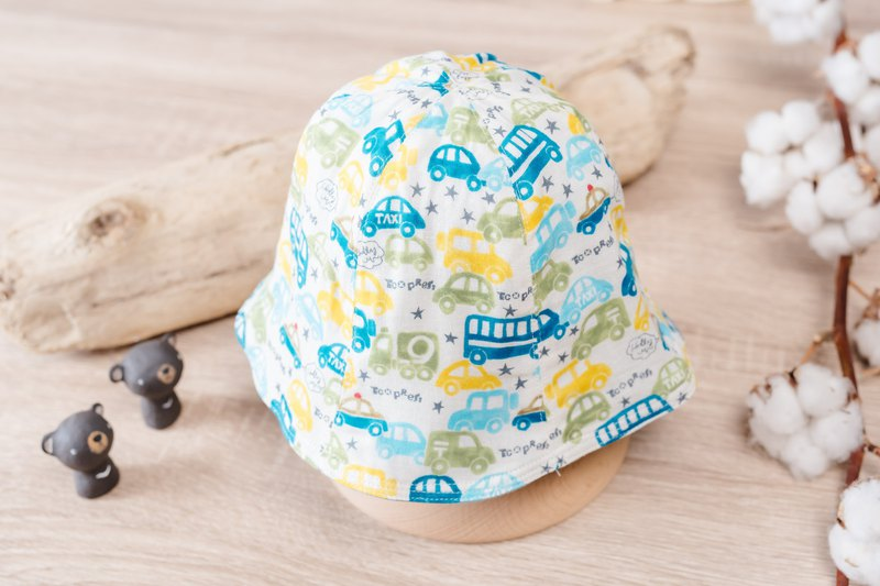 Double-sided fisherman hat - car car baby child toddler hat toddler