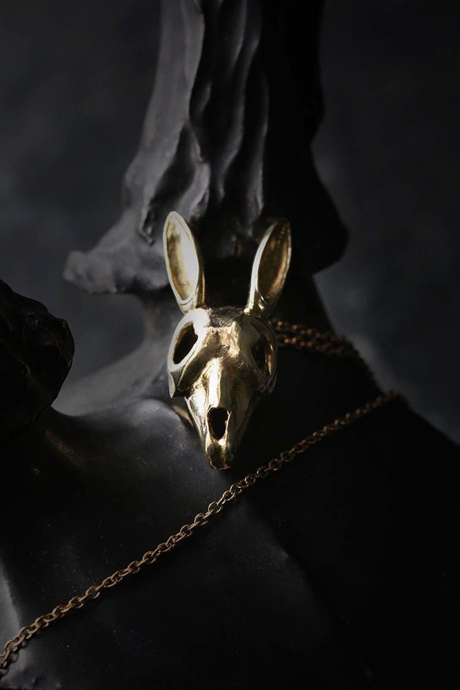 Rabbit Skull Charm Necklace by Defy.