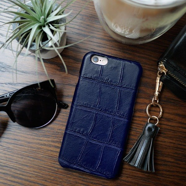 AOORTI :: iPhone 7/7 plus / Handmade Leather Cowhide Case - Crocodile Pattern / Night Blue