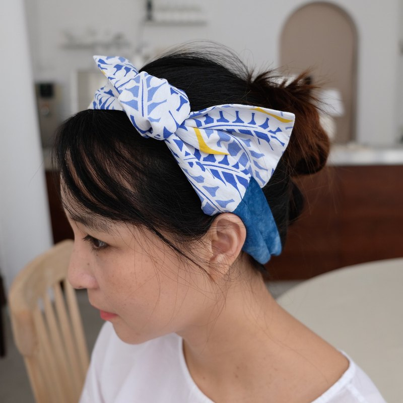 Free post blue dyed remix print hair band blue leaves spell blue dyed grid blue dyed hair with tie bag decoration
