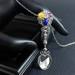 Silver Spoon - Gem in Gold Plated Sterling Silver 925 (Gold Vermeil) Pendant
