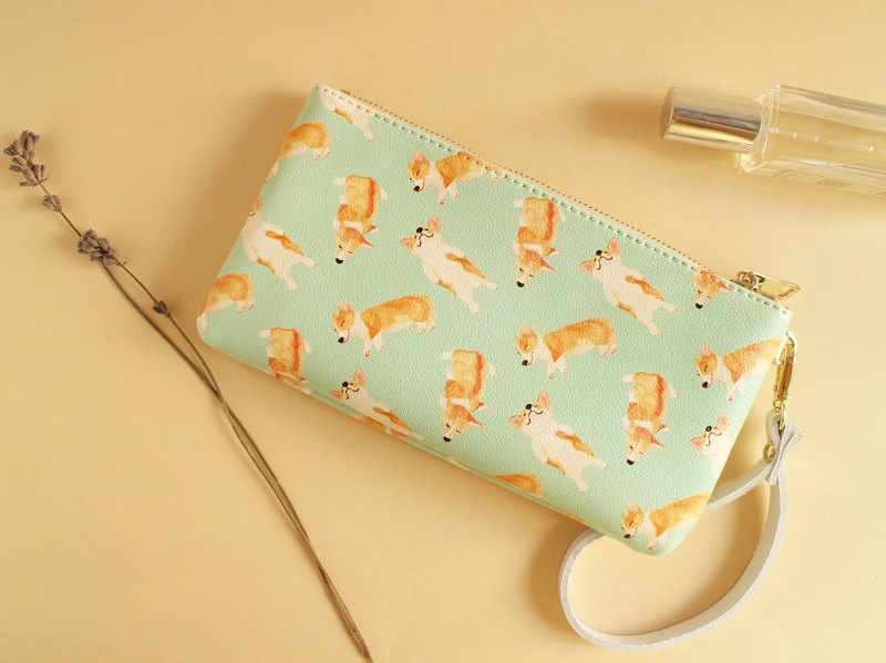 Corgi Puppy Puppy Coin Purse Storage bag wallet Passport package Mobile phone package