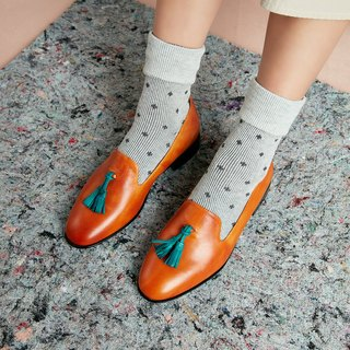 H THREE tassel shoes / orange coffee / flat / Loafer