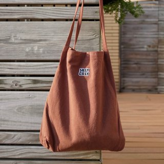 Sharp Chili logo cotton canvas retro bag shoulder bag brown A4 / double cloth / inner bag / magnetic buckle
