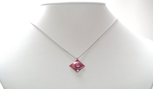 Japanese traditional technique scarlet copper kanji 吉 pendant necklace