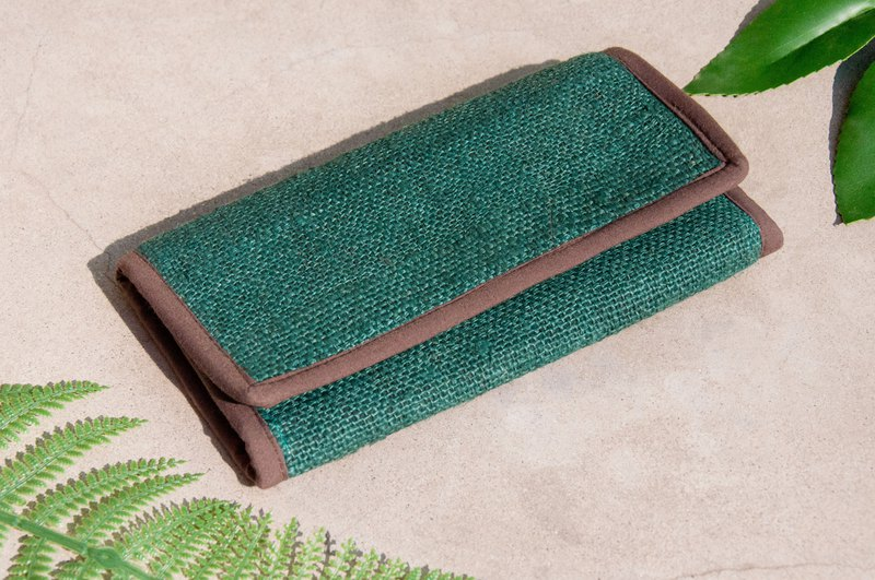 Handmade cotton and linen wallet / woven stitching long clip / long wallet / purse / woven wallet - Japan Green Grass