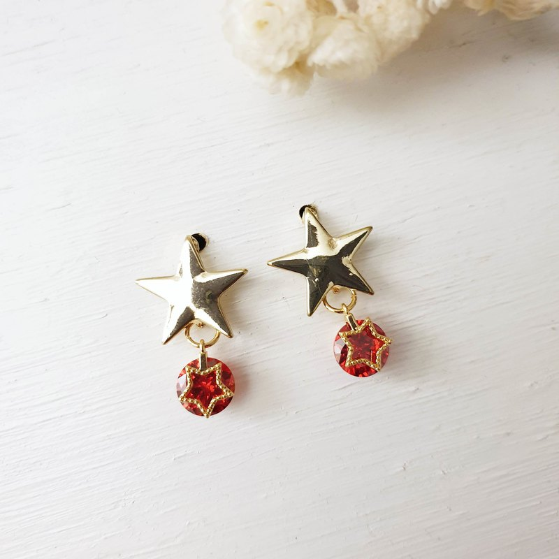 Our little stars x red x clip star earrings pin star earrings