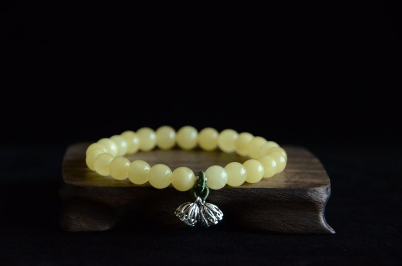 [Customized] Amber natural organic gemstone amber 925 silver rose lotus fresh literary bracelet