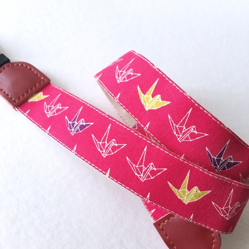 Blessed Paper Crane Camera Strap - Peach Red