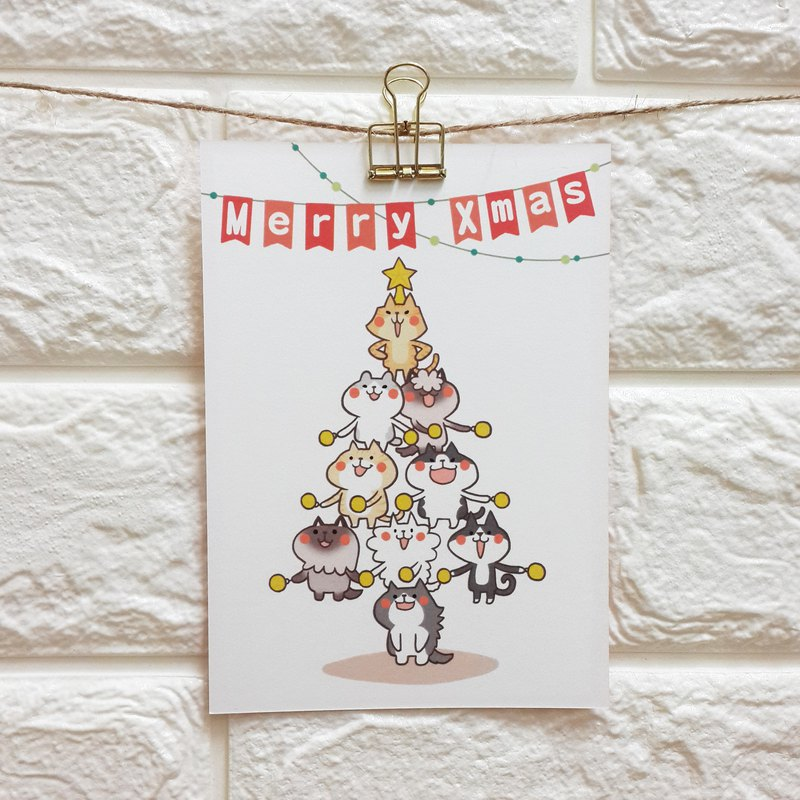 """Wonderful Kaka"" Christmas cat tree / postcards"