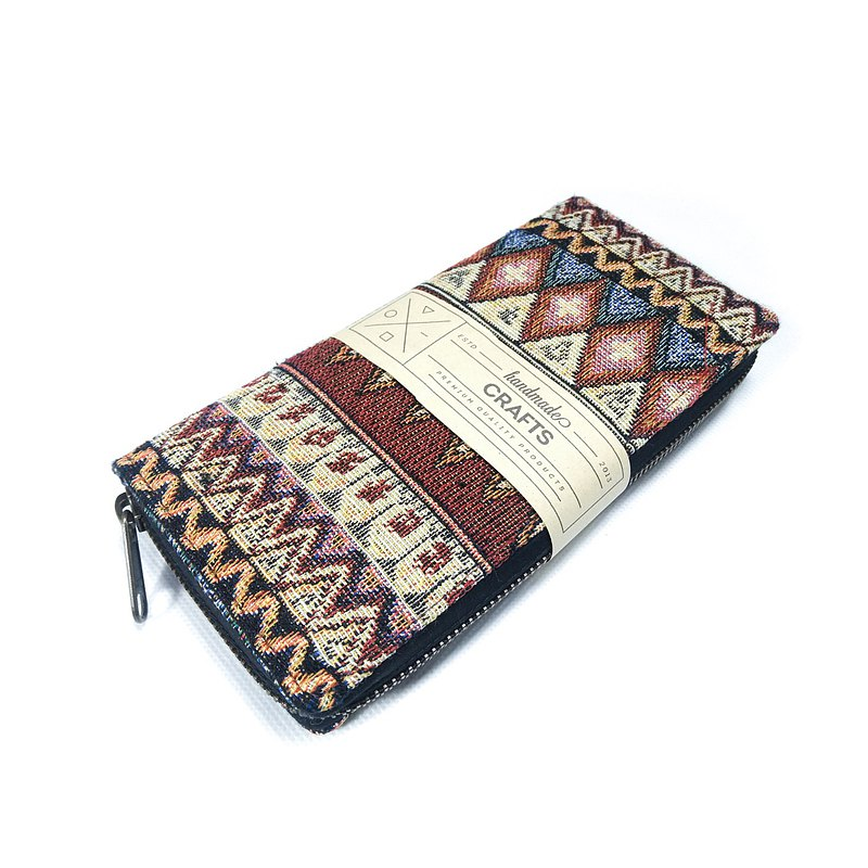 Aztec Vintage long wallet Fabric wallet Woven rattan zip wallet