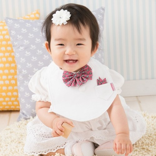 bib-bab Baby Bib Formal Type White (Liberty Heart Ribbon)