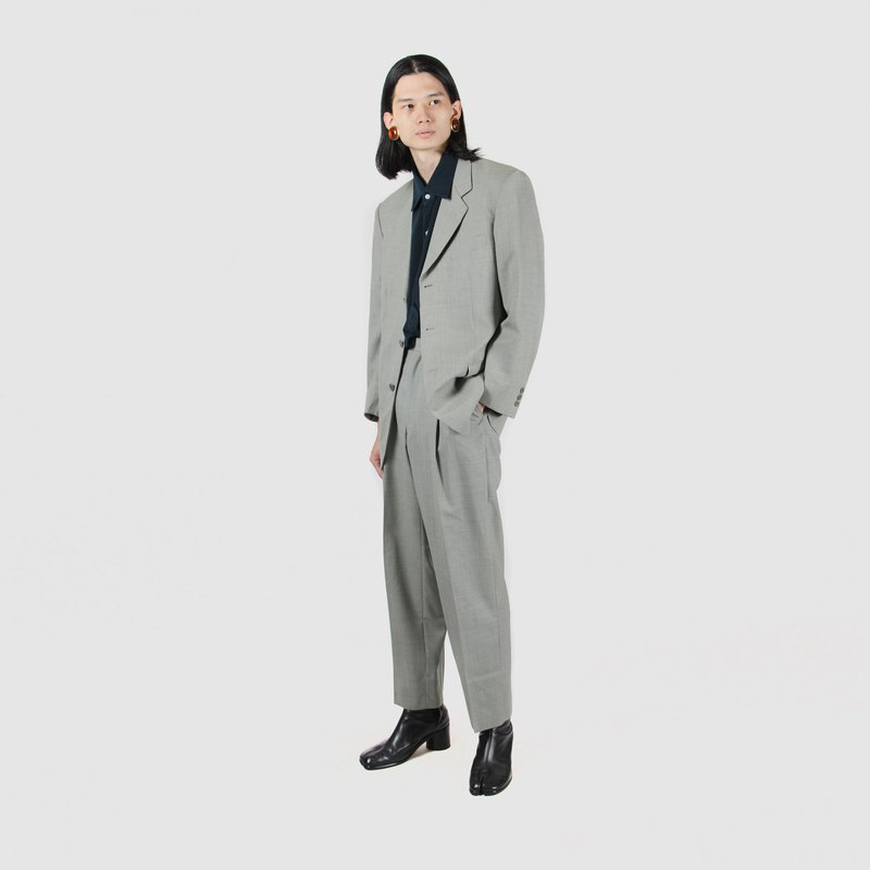 [Egg Plant Vintage] Thin Wool Fabric Solid Color Men's Vintage Suit Set