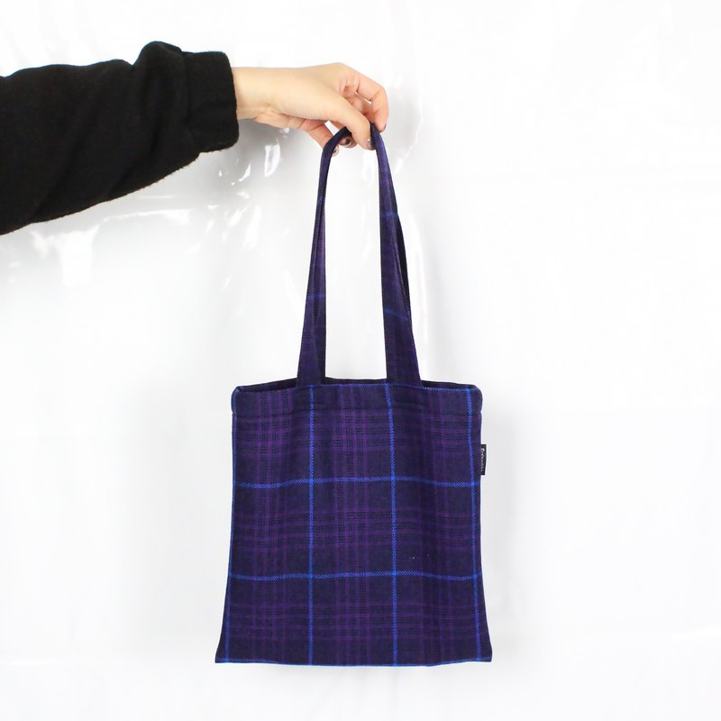 Wool Check Bag-Purple