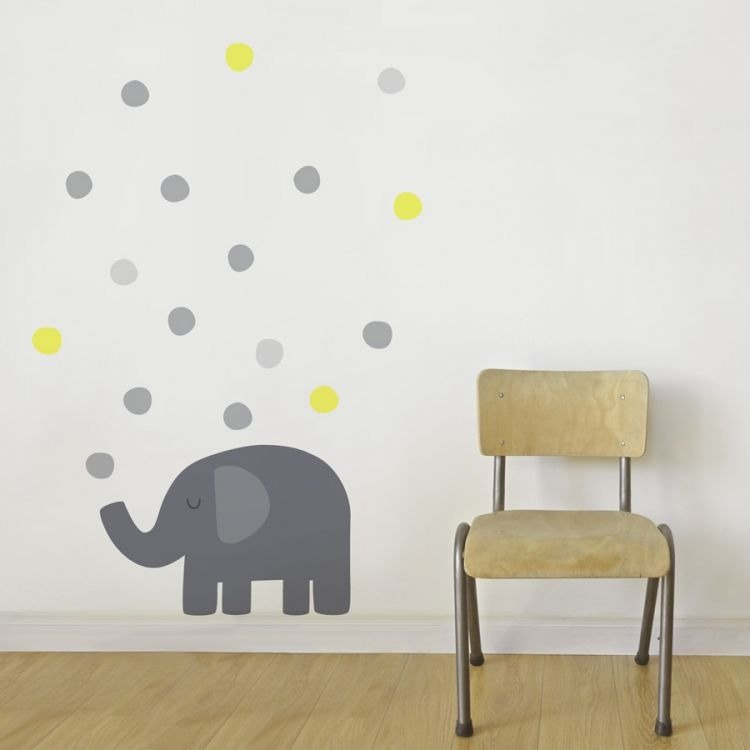 Elephant blowing bubble wall sticker (grey yellow)
