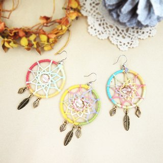 § HUKUROU§ rainbow catch dream net earrings large / single / light / fill the dream net