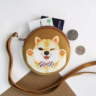 I money brown necklace wallet hand painted wind - H7. Tie Chai dog