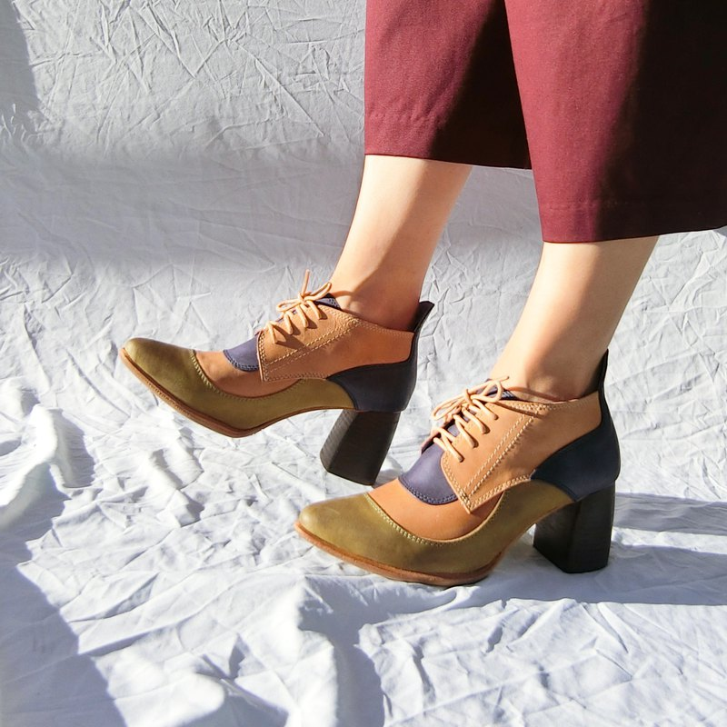 Tri-color Oxford leather strappy boots | | Euler's love retro leather || 8230