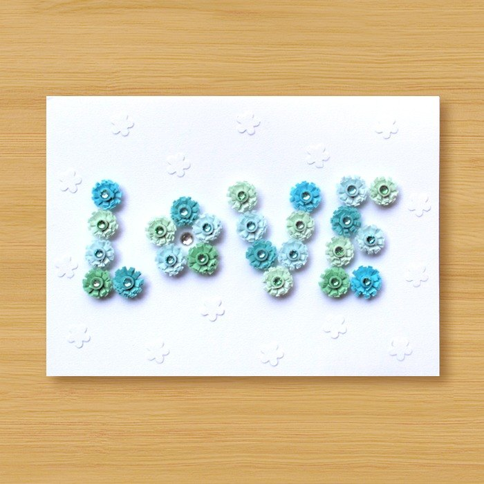 Handmade Roll Paper Card _ Pattern Love_B ... Mother Card, Valentine Card, Wedding Card
