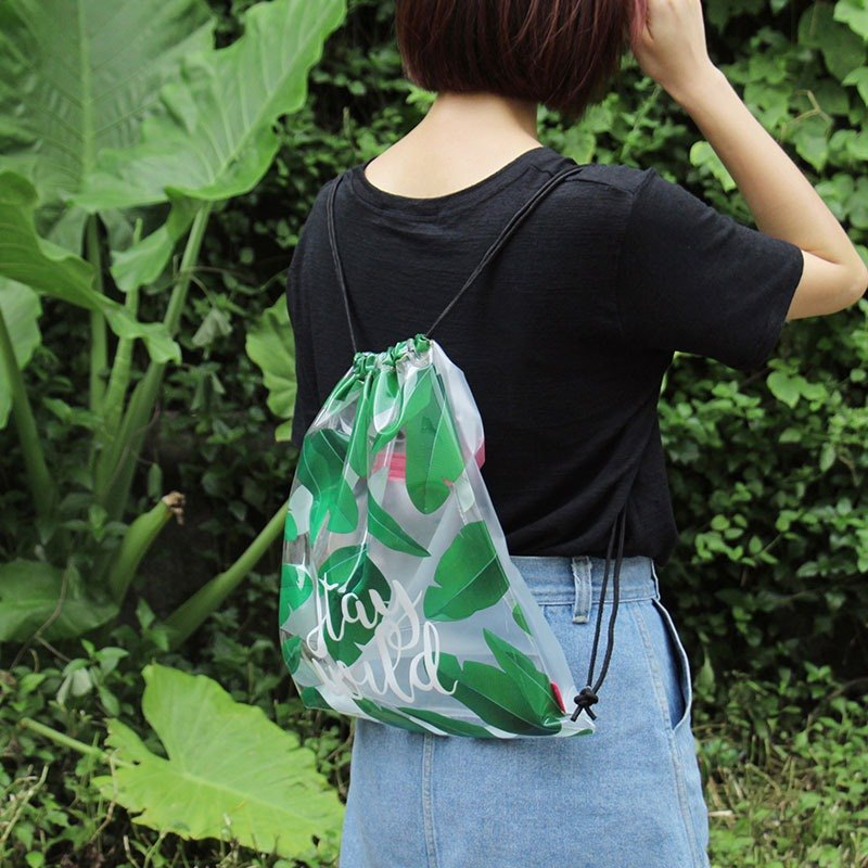 UPICK original product life original prints transparent pvc Drawstring Backpack Drawstring Pouch