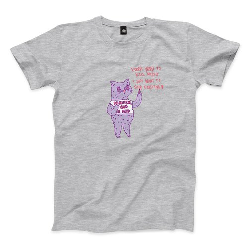 Nihilism Cat - Dark Grey - Neutral T-shirt