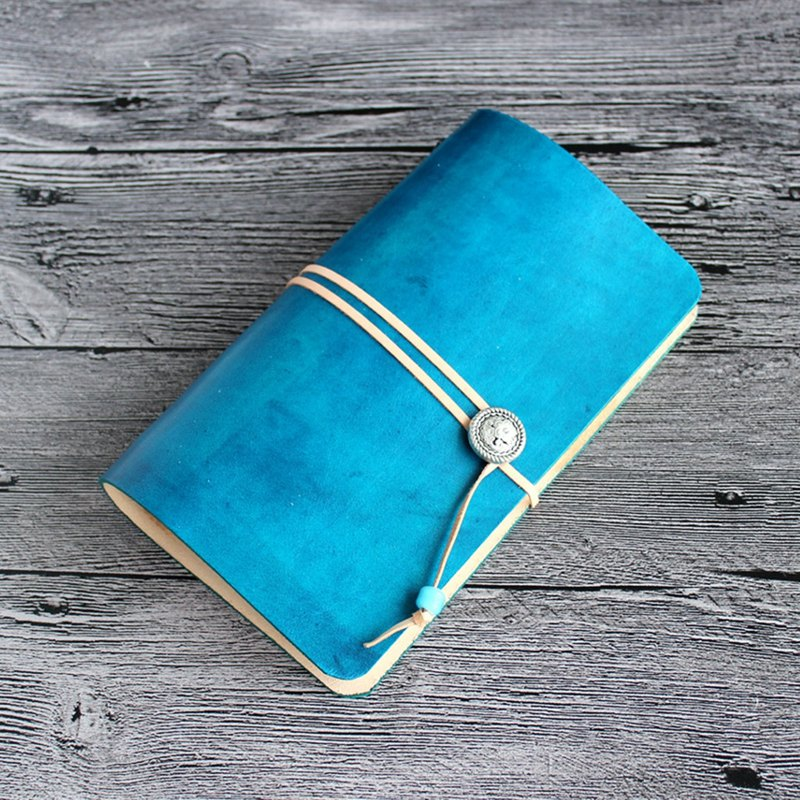 2018 If the first layer of tanned vegetable tanned leather indigo evenly stained a6 loose-leaf strap notebook handwritten notebook diary notebook leather notepad portable notebook