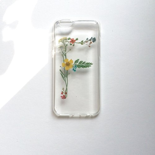 F for Flora:: pressed flower phonecase of initial english name design