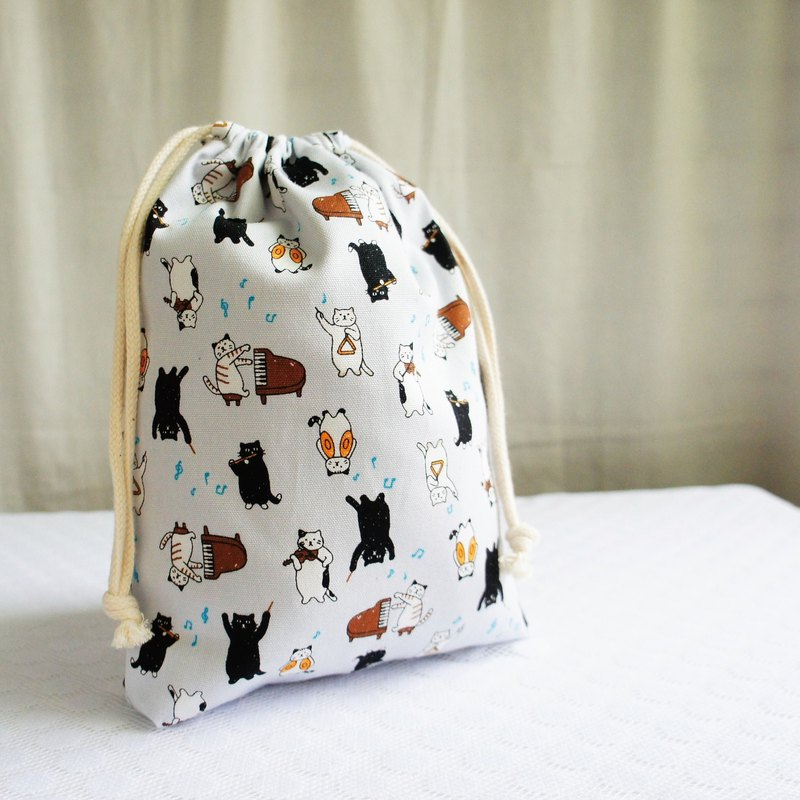 Lovely Japanese cloth [Cat Musician TN Notepad Hand Account Bundle Pocket] Can be equipped with a long clip with lining E