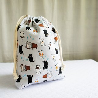 Lovely Japanese cloth [cat musician TN notepad hand pocket bag] can be loaded with long clips with lining