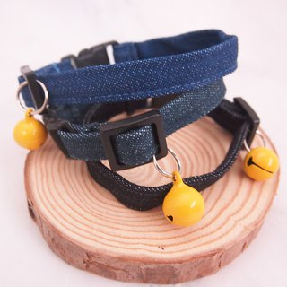 Simple denim cat mini dog small dog decorative collar