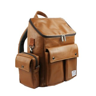 AMINAH-Brown British retro backpack [am-0303]